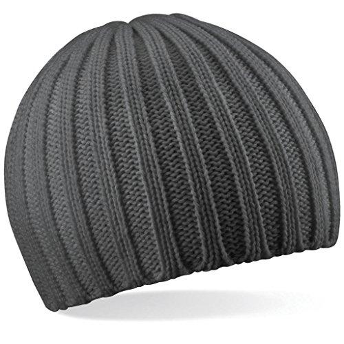 B462 Knit Unisex Beechfield Gorro Única Negro SGR Chunky Talla dt1xxOq