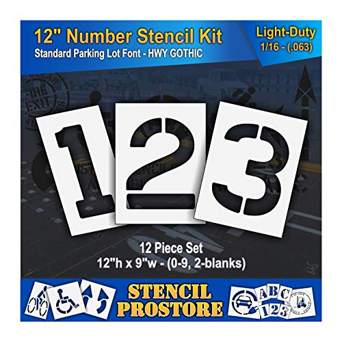 Pavement Stencils - 12 inch Number KIT Stencil Set - (12 Piece) - 12