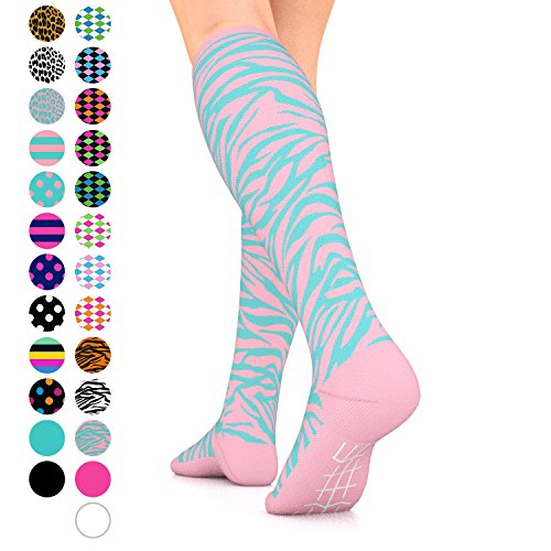 Go2Socks GO2 Compression Socks for Women Men Nurses Runners 15-20 mmHg (Medium) - Medical Stocking Maternity Travel - Best Performance Recovery Circulation Stamina (PinkTurquoiseZebra,M)