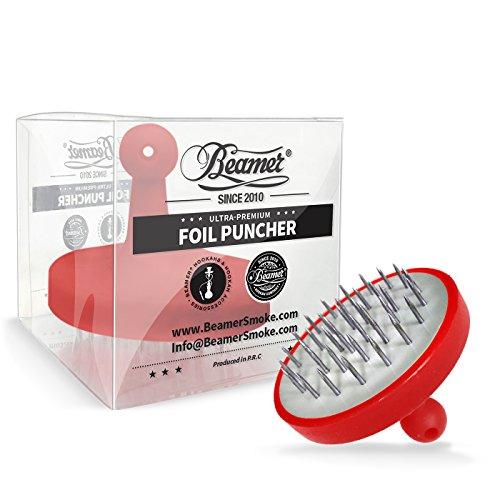 U Pick Color: Red Beamer Ultra Premium Two-Toned Metal Foil Puncher + Limited Edition Beamer Smoke Sticker - Orange Hookah
