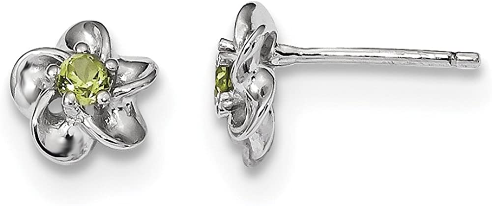Lex /& Lu Sterling Silver w//Rhodium Floral Peridot Post Earrings LAL103385