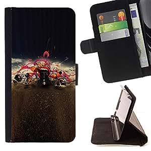 Momo Phone Case / Flip Funda de Cuero Case Cover - Boca Labios rojos del beso Amor de la música de concierto - HTC One M9