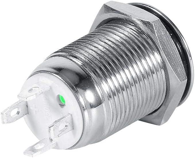 Verde Interruttore autobloccante Akozon 22mm 12V LED Interruttore a pulsante autobloccante impermeabile autobloccante