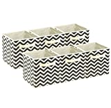 Sorbus Foldable Storage Cube Basket Bin, 6 Pack,Chevron Pattern (Beige)