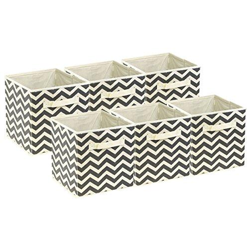 Sorbus Foldable Storage Cube Basket Bin, 6 Pack,Chevron Pattern (Beige)