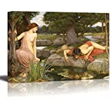 """Echo and Narcissus by John William Waterhouse Giclee Canvas Prints Wrapped Gallery Wall Art   Stretched and Framed Ready to Hang - 24"""" x 36"""""""