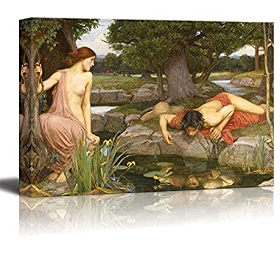 Echo and Narcissus by John William Waterhouse Giclee Canvas Prints Wrapped Gallery Wall Art | Stretched and Framed Ready to Hang - 16