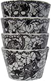 222 Fifth Wiccan Lace Black & White Skull, Spider, Witch Halloween Pattern Dessert/ Dipping Bowls Set of 4