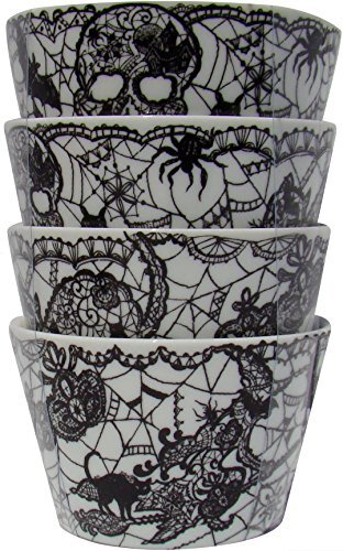 (222 Fifth Wiccan Lace Black & White Skull, Spider, Witch Halloween Pattern Dessert/ Dipping Bowls Set of 4)