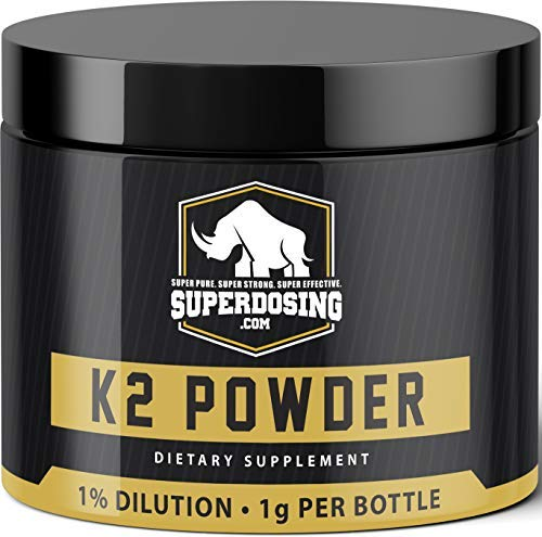 SuperDosings Bulk Vitamin K2 Powder 1000x 1mg Servings with Scoop. Buy High Strength Wholesale K-2 to Save & Supplement Your Health & Diet Regime. Essential For Strong & Healthy Bones, Joints & Heart (Best Diet For Joint Health)