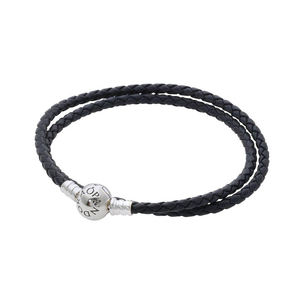 Pandora Moments Dark Blue Leather Silver Charm Bracelet 590745CDBD2