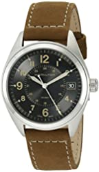 Hamilton Men's 'Khaki Field' Swiss Quartz Stainless Steel and Suede Automatic Watch, Color:Brown (Model: H68551833)