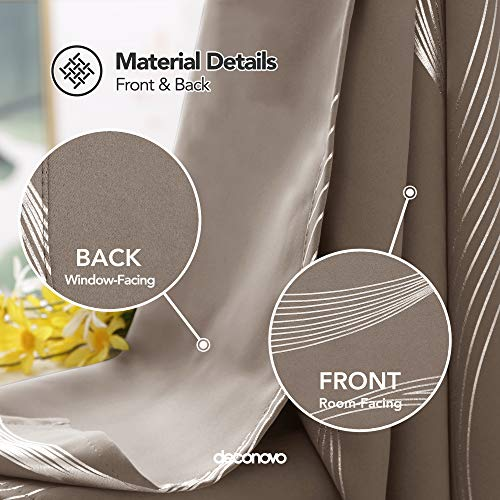 Deconovo Khaki Blackout Curtains Room Darkening Foil Print Wave Stripe Design Thermal Insulated Grommet Window Drapes… 5