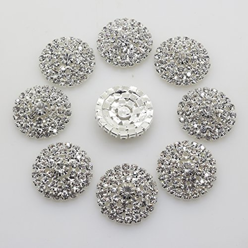 XINXI 20PCS 28mm Arch Round Clear Rhinestone flower Buttons Metal Crystal Glass Button (Silver)
