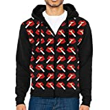 WeiGin Cigarette Red Lip Full Zip Long Sleeve Hooded Pocket Sweatshirt Sweater For Men Teens Sports