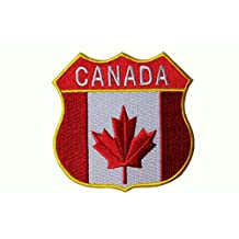 """CANADA Country Flag With TITLE Police Shield Shape Embroidered Iron on Patch Crest Badge ...Size : 3"""" x 3"""" Inch ... New"""