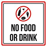 No Food Or Drink Swimming Pool Spa Warning Sign, Plastic - 9x9