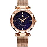 WWOOR Women's Watch Fashion Star Watch Analog Quartz Watches with Stainless Steel Mesh Band Waterproof Wristwatch Casual Gift Watch Ladies (Rose Gold)