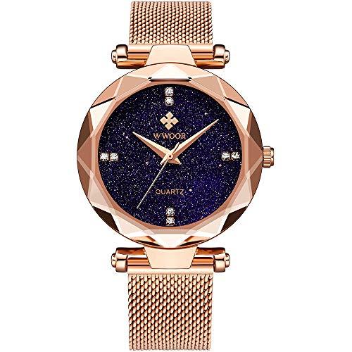 (WWOOR Women's Watch Fashion Star Watch Analog Quartz Watches with Stainless Steel Mesh Band Waterproof Wristwatch Casual Gift Watch Ladies (Rose Gold))