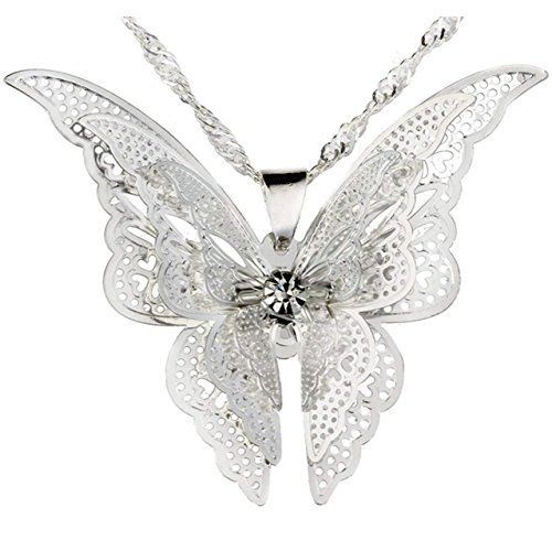 Yuiyeemarket  Womens 925 Sterling Silver Plated Butterfly Pendant  Necklace