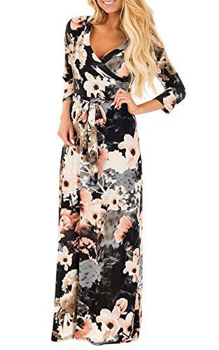 Womens Summer 3/4 Sleeve V Neck Floral Print Faux Wrap Maxi Long Dresses with Belt Black (Faux Floral)