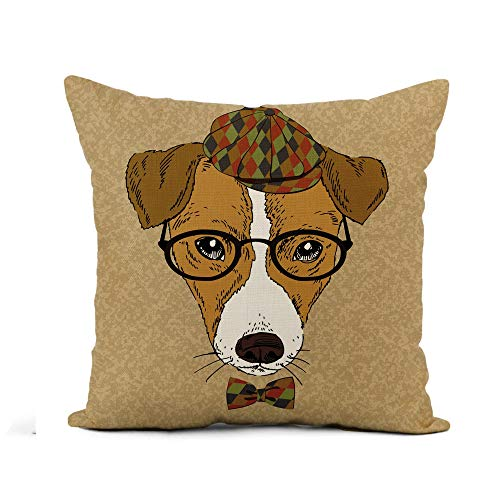 Awowee Flax Throw Pillow Cover Dog Portrait of Jack Russell Terrier Animal Hipster Vintage 20x20 Inches Pillowcase Home Decor Square Cotton Linen Pillow Case Cushion Cover