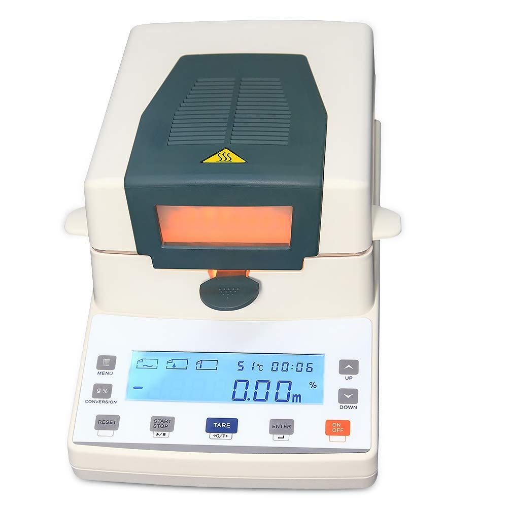 AMTAST 110V 60Hz Halogen Moisture Meter Digital Halogen Moisture Analyzer 110g x 1mg, 0.1% Readability LCD Precision Lab Moisture Tester for Agriculture, Medicine, Plastic