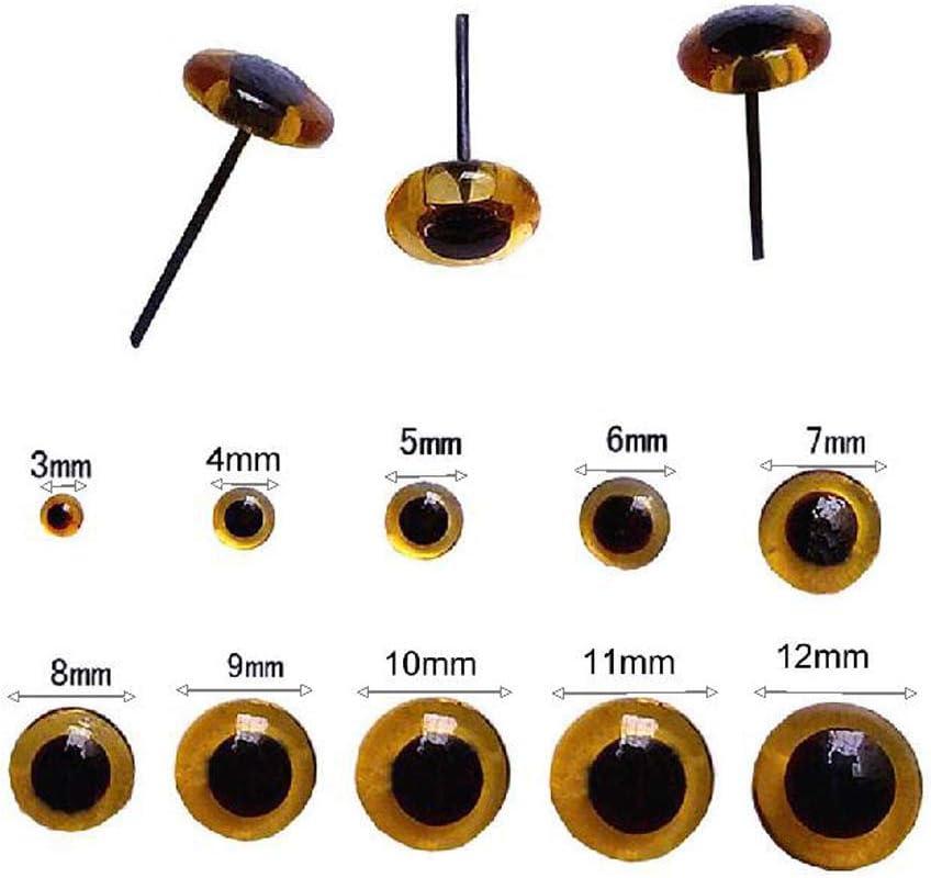 BESTCYC 1Box 80pcs 3-10cm 8Size Black Mini Glass Eyes Kits for Needle Felting Bears Dolls Decoys Sewing Crafts