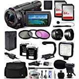 Sony FDR-AX33 4K Ultra HD Handycam Camcorder with 64GB Memory Card, 3Pcs Filter Kit, Video Light, Microphone, Carrying Case, 72 Monopod, 10Pcs Cleaning Kit, Microfiber Cloth and Accessories Bundle