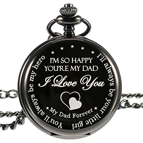 Hicarer Pocket Watch I'll Always Be Your Little Girl, You'll Always Be My Hero, Christmas Birthday Gift for Dad Father (Dad Gifts, White Dial)