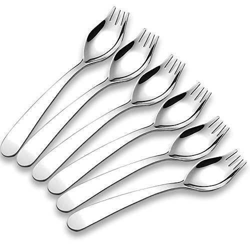 Xesea Sporks 6-pack Mini 18/10 Stainless Steel Sporks Kids, Fruit Appetizer Dessert Salad Children Flatware Set, 5.9-inch Long(S) by Xesea