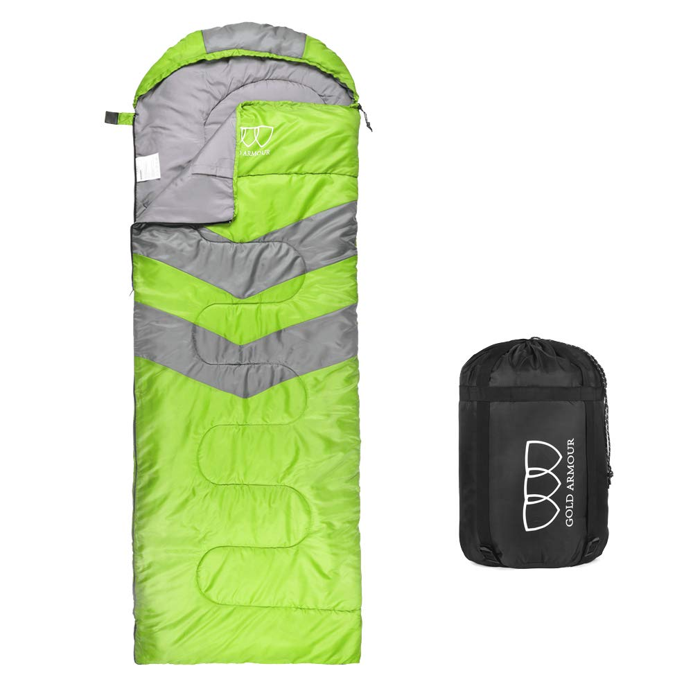 Sleeping Bag - Sleeping Bag for Indoor & Outdoor Use - Great for Kids, Boys, Girls, Teens & Adults. Ultralight and Compact Bags for Sleepover, Backpacking & Camping (Lime Green/Gray - Right Zipper) by Gold Armour