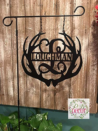 (Metal Antler Initial Garden Flag - Single Initial w/Last name Garden Flag - 14
