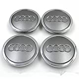 Automelody 4pcs A Set Of Wheel Center Caps Hubcap For Audi A3 A4 A5 A6 A8 Allroad Q3 Q5 Q7 Quattro R8 RS4 RS5 RS6 RS7 S3 S4 S5 S6 S8 TT (grey)