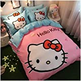 Peachy Baby Featuring Hello Kitty 100% Cotton Bedding Sheet Set 3 and 4 Pieces Single Queen King Size Pink Cute Cartoon Animate Girly (Queen Size)