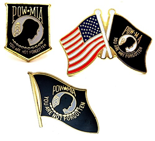 (Set of 3 POW MIA and USA Flag Lapel Hat Pin Marines Army Navy Air Force Military)