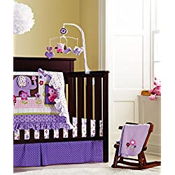 New Baby Girls Purple Owl 9pcs Crib Bedding Set for girls with window valance