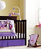 New Baby Girls Purple Owl 9pcs Crib Bedding Set with musical mobile