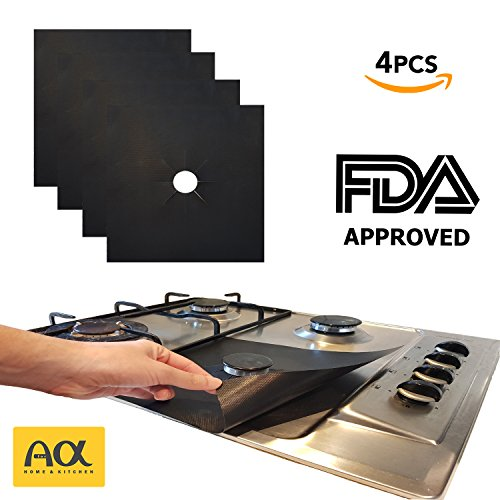 "Top Heavy Duty Gas Range - Stove Burner Covers Reusable Gas, Top Range Square Black Protectors, Double Thickness 0.2mm, Heavy Duty kitchen cover, Pack of 4, non-stick square liners with round/circle holes, 10.6"" x 10.6"