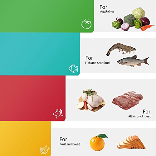 Fu Store Extra Thick Flexible Plastic Kitchen Cutting Board Mats Set, Set of 4 Colored Mats with Food Icons & Easy-Grip Handles, BPA-Free & FDA Approved, Non-Porous by Fu Store (Image #3)'