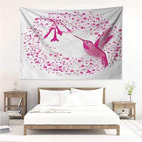 Hummingbird,Dorm Tapestry Hummingbird Flies to The Flower Polkadots Flourishes Summer Garden Artwork 60W x 51L inch Towel Throw Tapestry Decor Pink Fuchsia