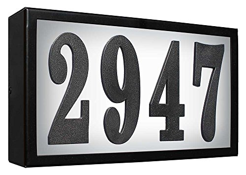 QualArc SRST-AB60-LED-BLK Serrano Standard LED Lighted Address Plaque, Black by Qualarc