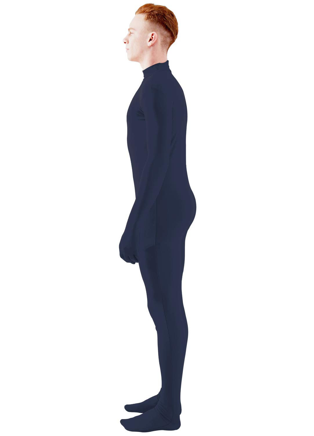 ac9a39283f1 Ensnovo Mens Mock Neck Full Body Unitard Spandex Zentai Suits Costumes  Navy