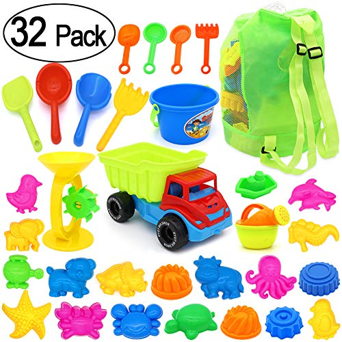PETUOL 32 Piece Kids Beach Sand Toys Set, Sandbox Vehicle Sand Water Wheel, Molds Set, Bucket, Watering Can, Shovel Tool Kit Play Outdoor for Toddlers - Water And Giant Sand Wheel