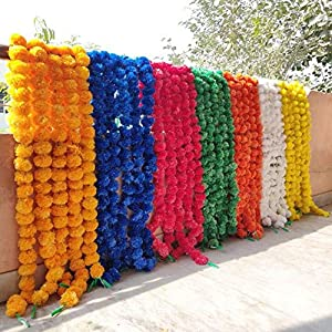 25 Pcs Lot Fresh Like Real Look Artificial Flower Strings For Christmas Decorations Fiber Marigold Outdoor Indian Wedding Home Decorations 90