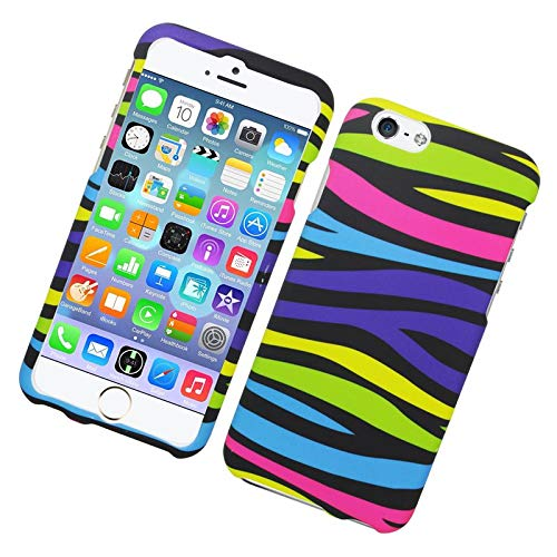 Insten Zebra Rubberized Hard Snap-in Case Cover Compatible with Apple iPhone 6/6s, Colorful