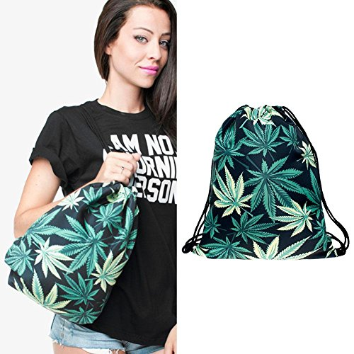 Sack Bag Drawstring Bag Cinch Men Everpert 3D Women Tote Bags Print Green Digital Backpack Gym d1Xq1wI