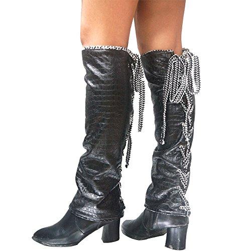 Freedo's Leg Warmers Women Winter Outdoor Leg Glover Thicken Fashion Leather Legwarmers Black -