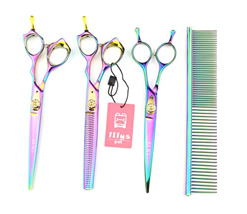 LILYS PET HIGH-END SERIES Japan 440C Pet Grooming Scissors Set,Rainbow Color,Cutting&Thinning&Two-way Curved shears Set (7.0'') by LILYS PET