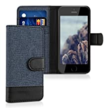 kwmobile Wallet case canvas cover for Apple iPhone SE / 5 / 5S - Flip case with card slot and stand in dark blue black
